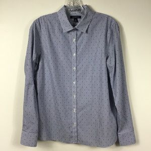 LANDS' END DOTTED PINSTRIPED BUTTON DOWN SHIRT